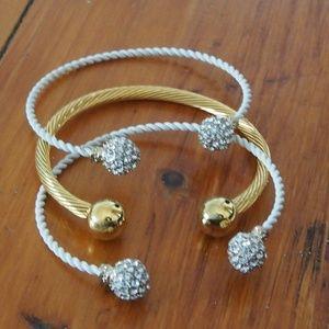 Jewelry - BUNDLE! 3 Cuff Bracelets Rhinestone Gold Tone!